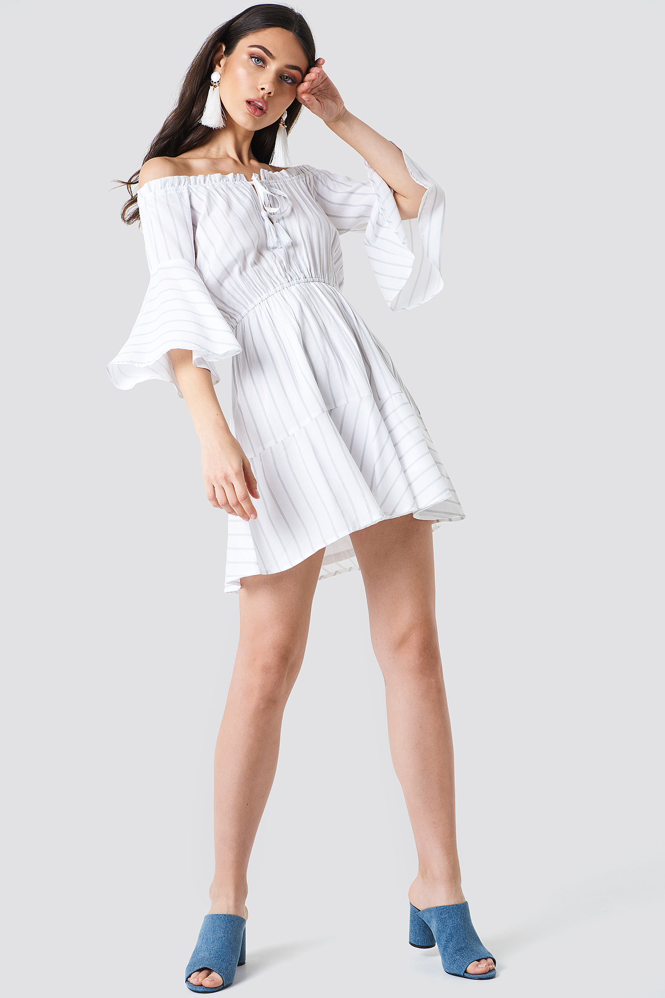 Off Shoulder Wide Sleeve Dress NA-KD.COM