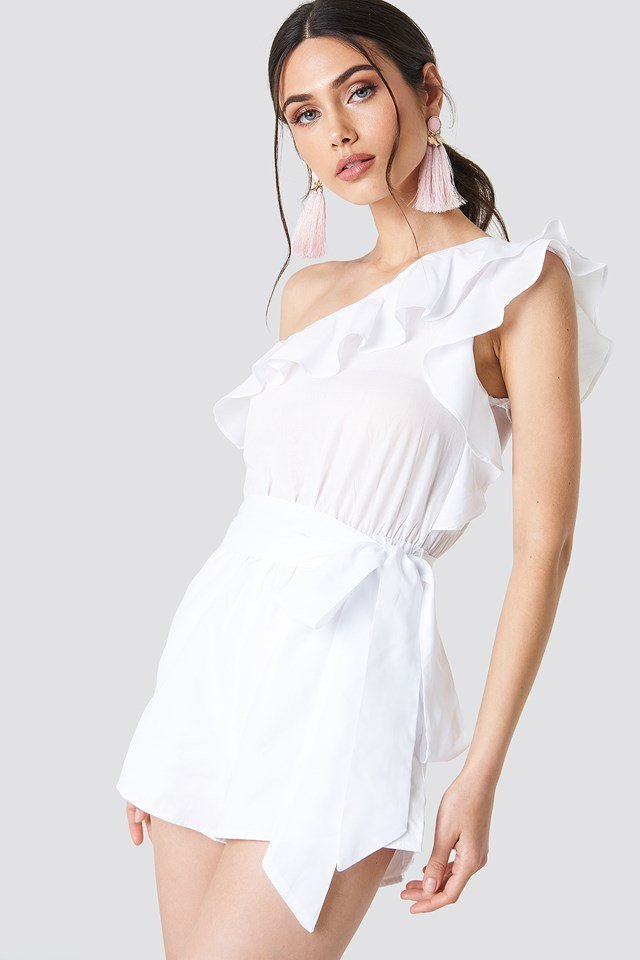 One Shoulder Frill Playsuit NA-KD.COM