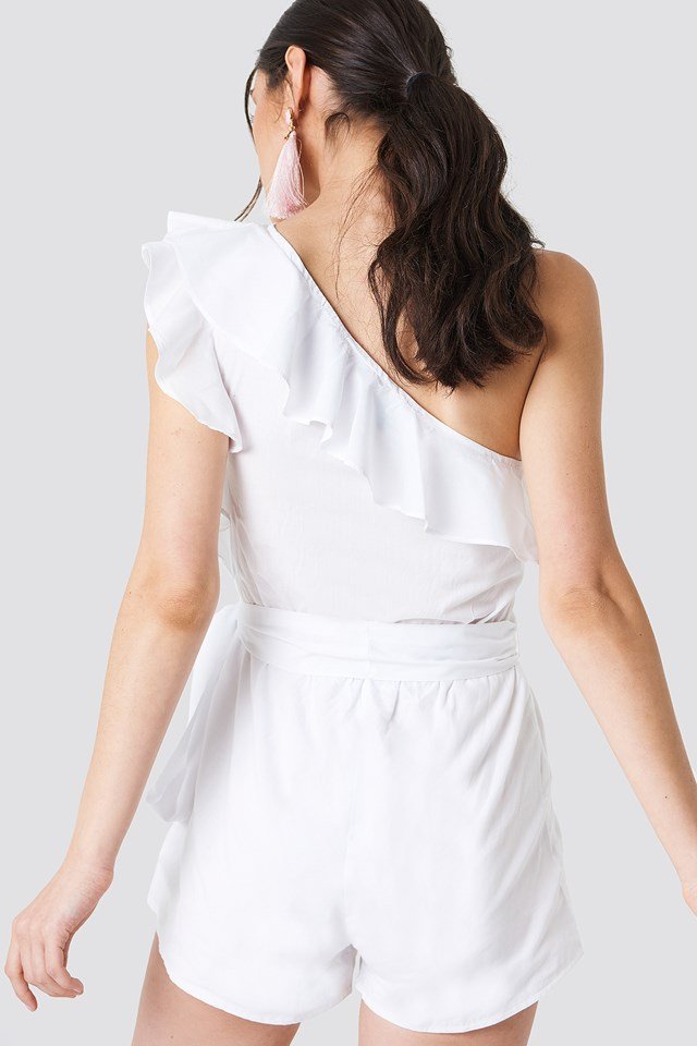 One Shoulder Frill Playsuit White