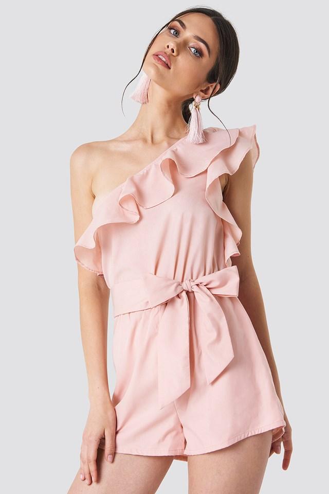 One Shoulder Frill Playsuit Pink