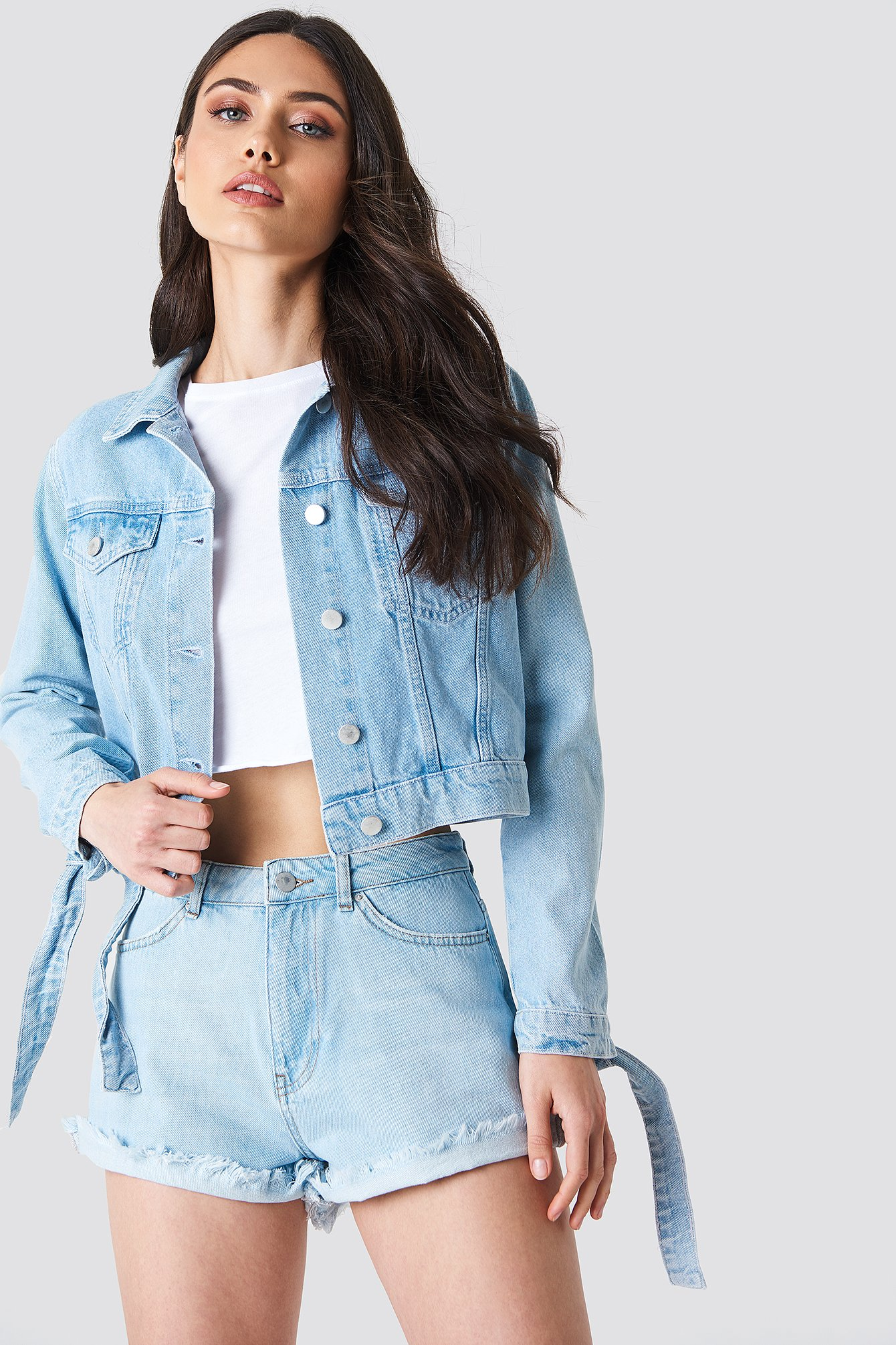 Tie Sleeve Denim Jacket NA-KD.COM