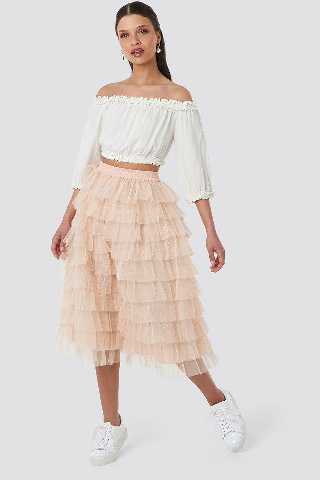 Tulle Maxi Skirt Nude Pink