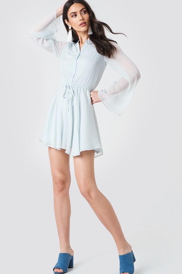 Wide Sleeve Chiffon Dress Light Grey Blue