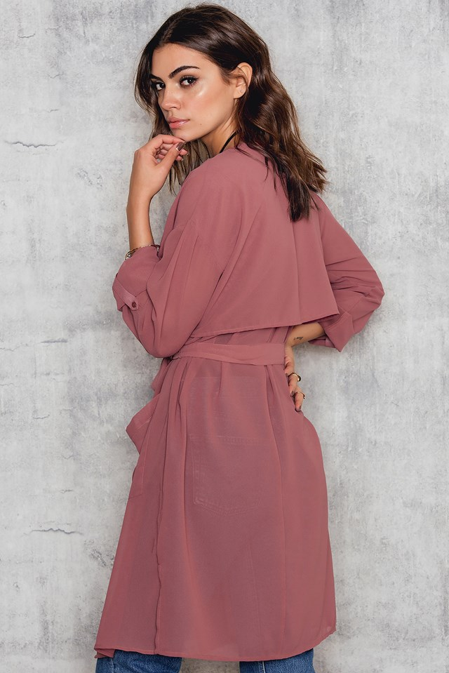 Sheer Trench Coat Dusty Pink