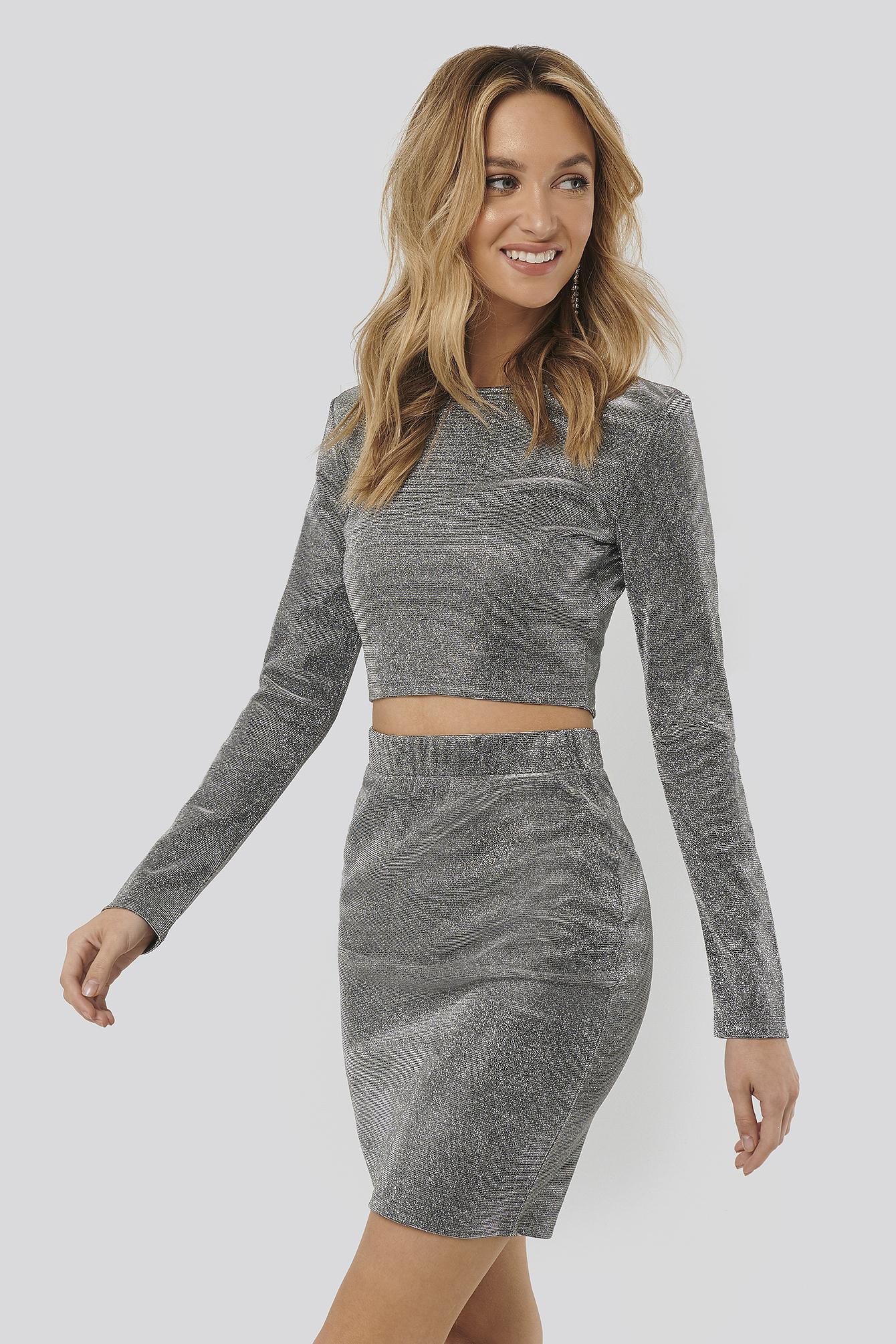 Sara Sieppi x NA-KD Glittery Mini Skirt - Silver