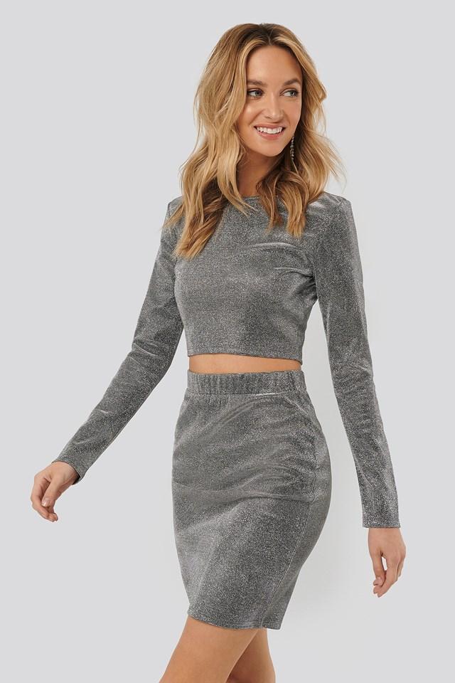 Glittery Mini Skirt Silver
