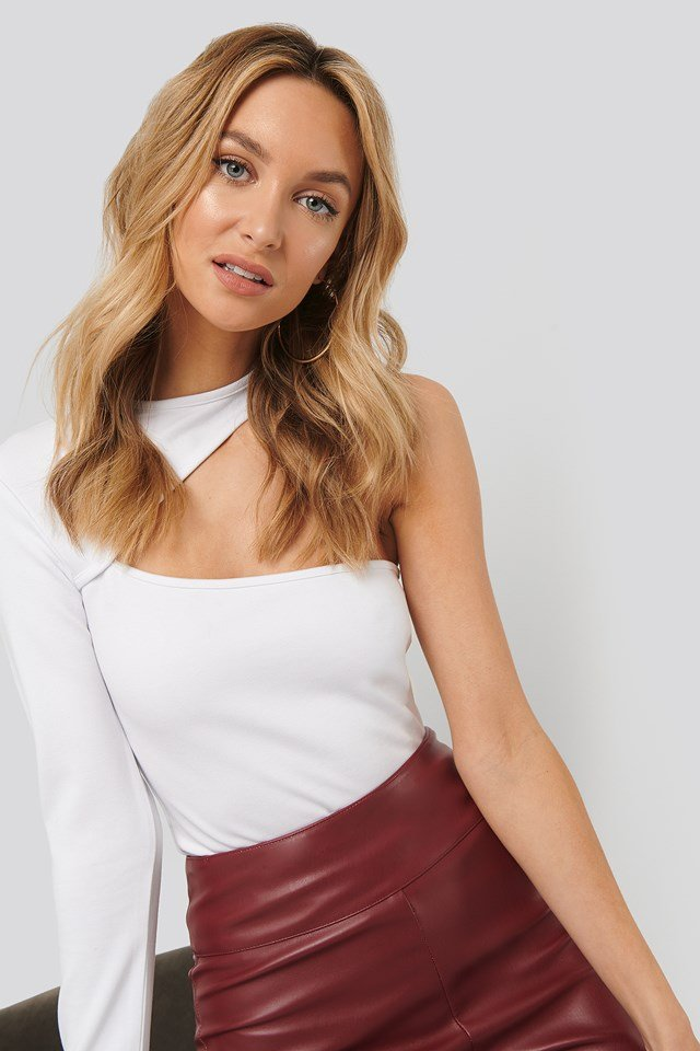 One Sleeve Cut Out Jersey Top White