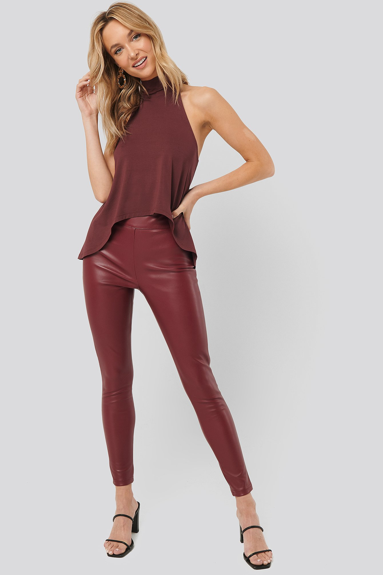 Burgundy PU Slim Pants