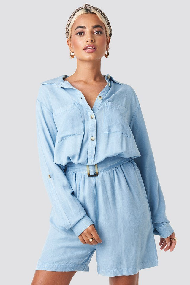 Beta Playsuit Light Blue Wash
