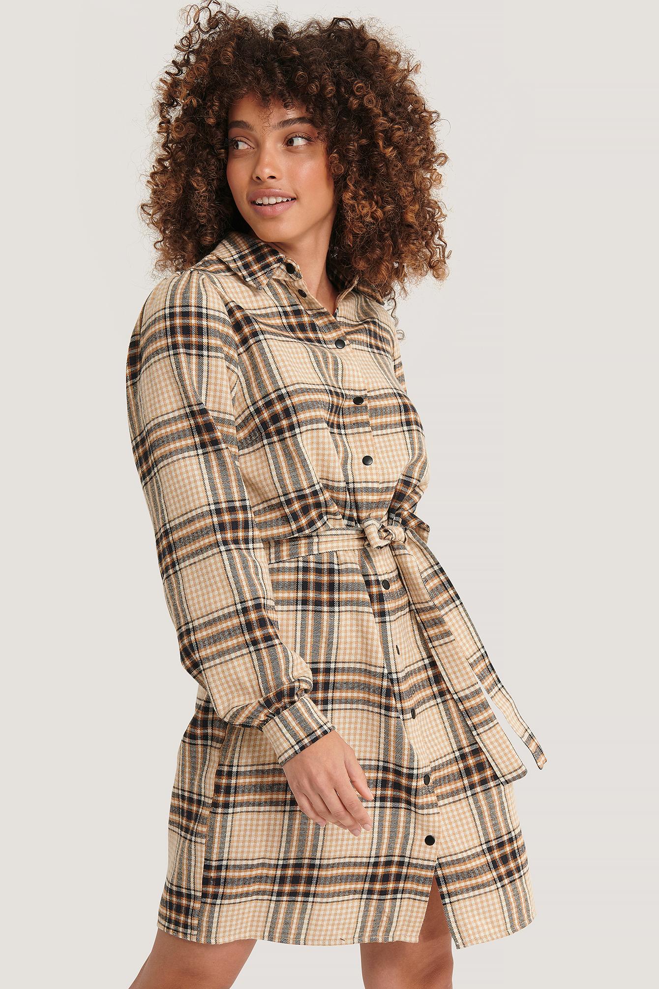 Sisters Point Hemdkleid Mit Gürtel - Multicolor | Bekleidung > Kleider > Blusenkleider | Sisters Point