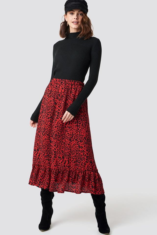 Emmy Midi Skirt Red Leopard