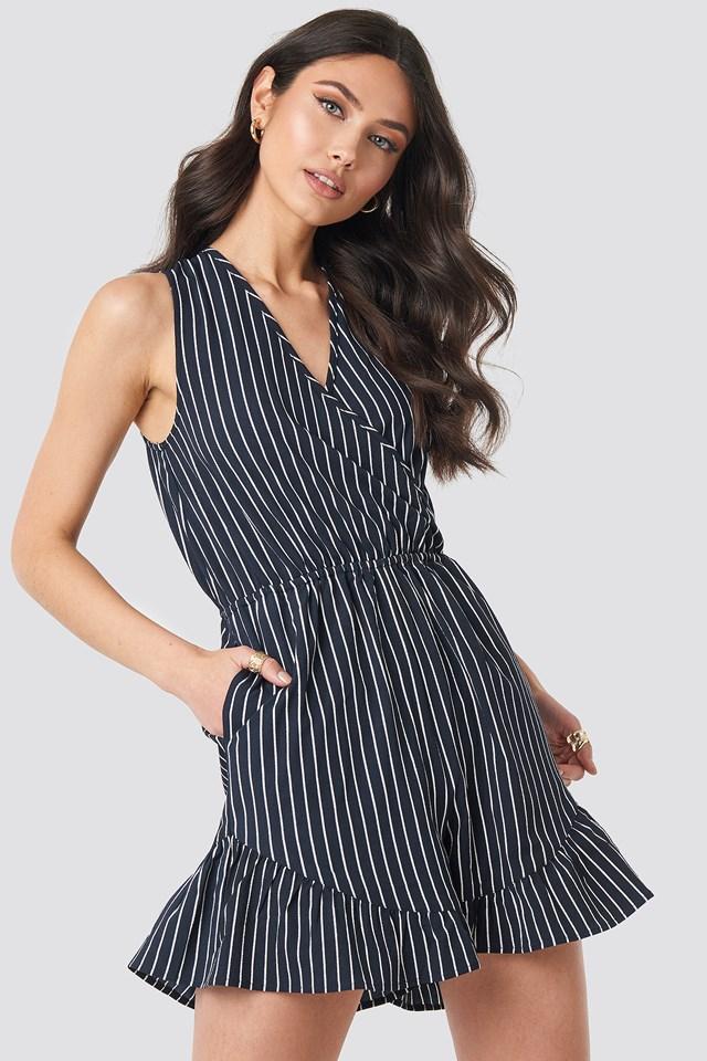Fatima Stripe Playsuit Blue/White Stripe