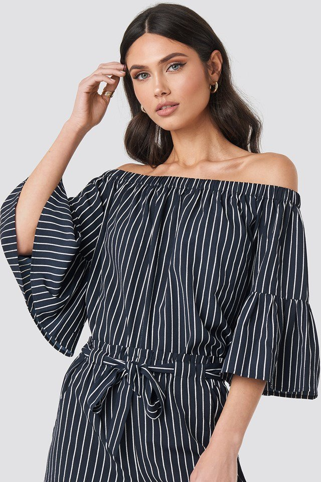 Fatima Stripe Blouse Blue/White Stripe