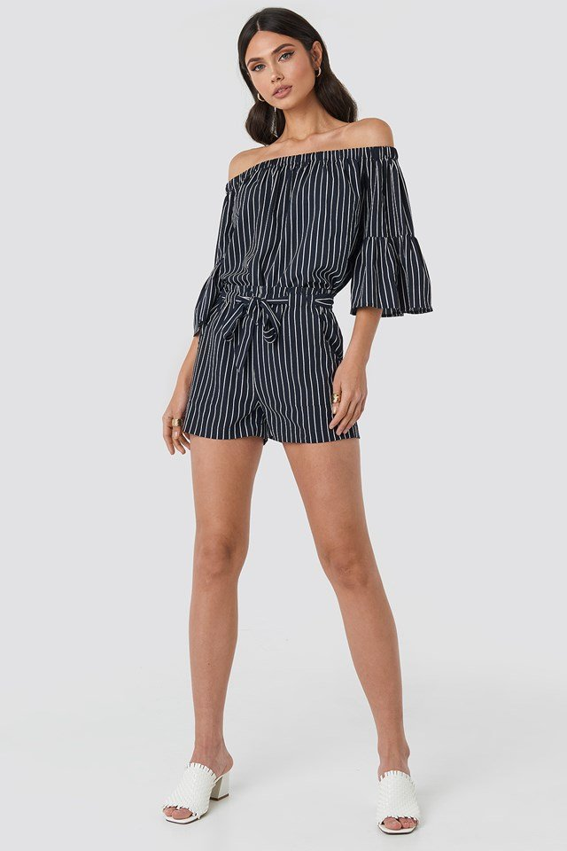 Fatima Stripe Blouse Blue/White Stripe