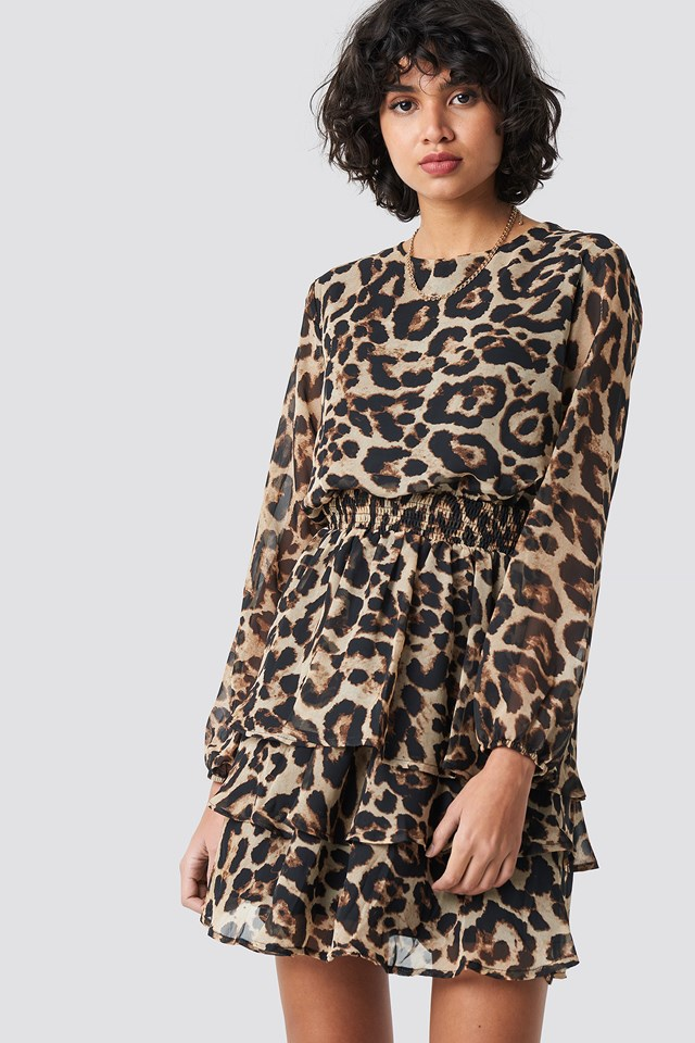 Nicoline Ls Dress Brown/Leopard