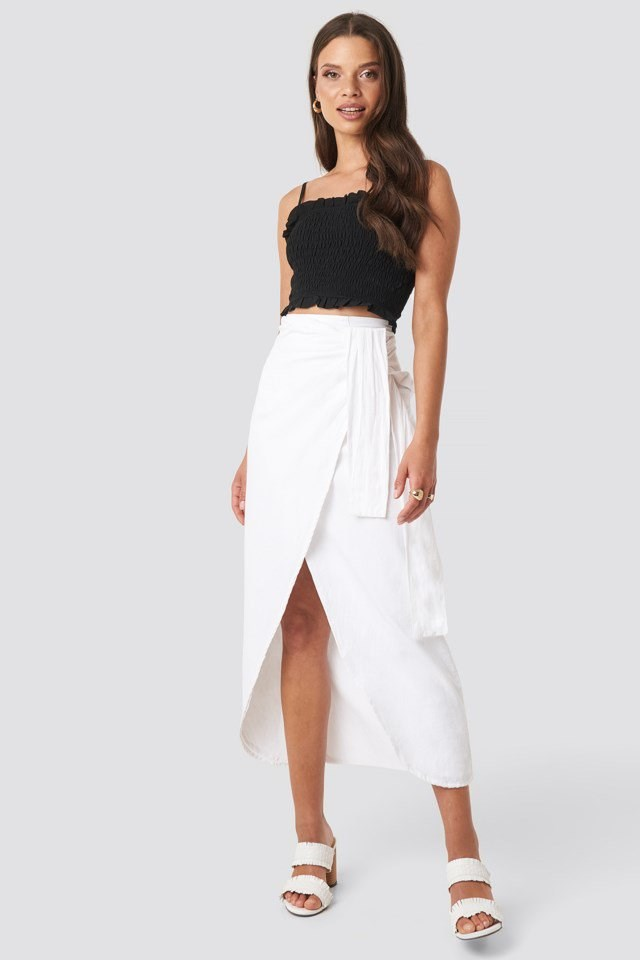 Paula Linen Look Skirt White Outfit