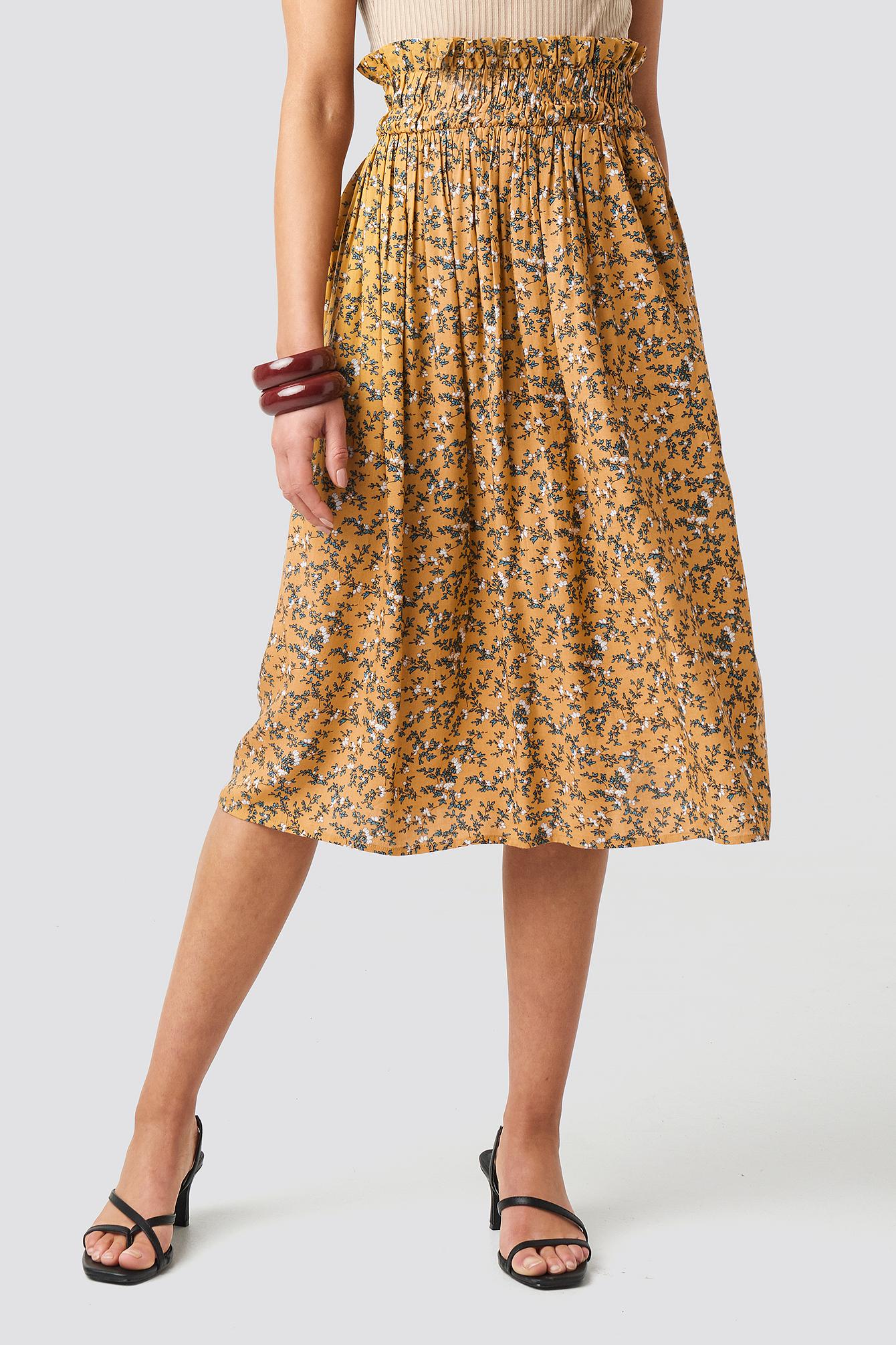 Smock Detail Flower Print Skirt NA-KD.COM