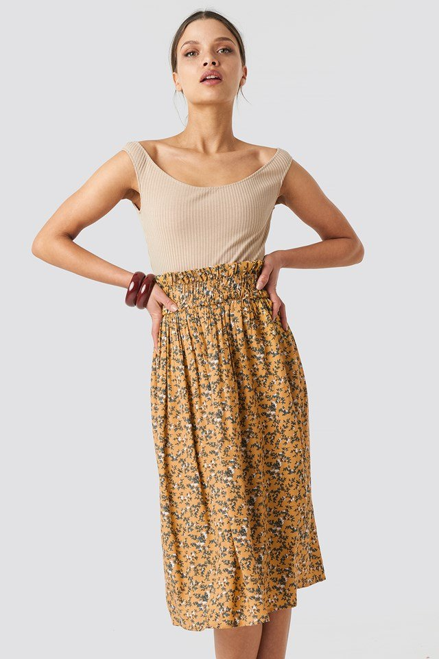 Smock Detail Flower Print Skirt Yellow