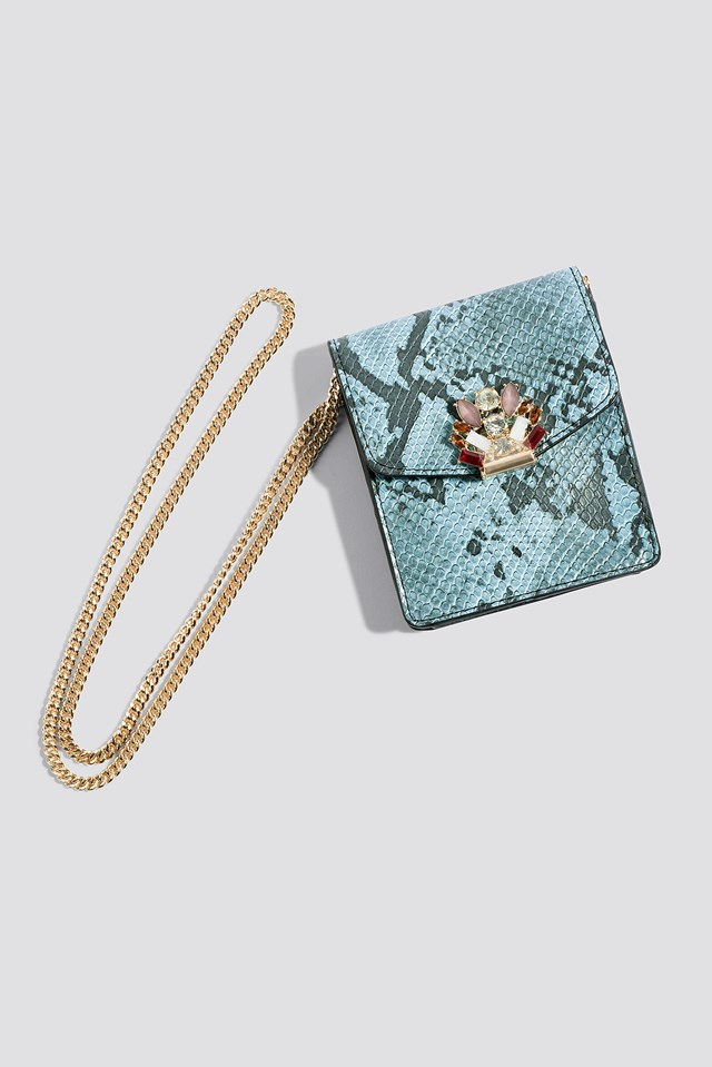 Snake Effect Mini Bag Medium Blue