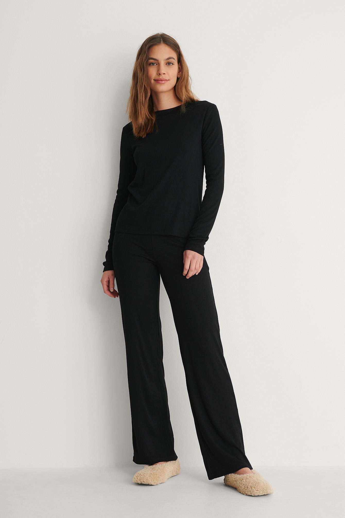 na-kd basic -  Soft Ribbed Wide Basic Pants - Black