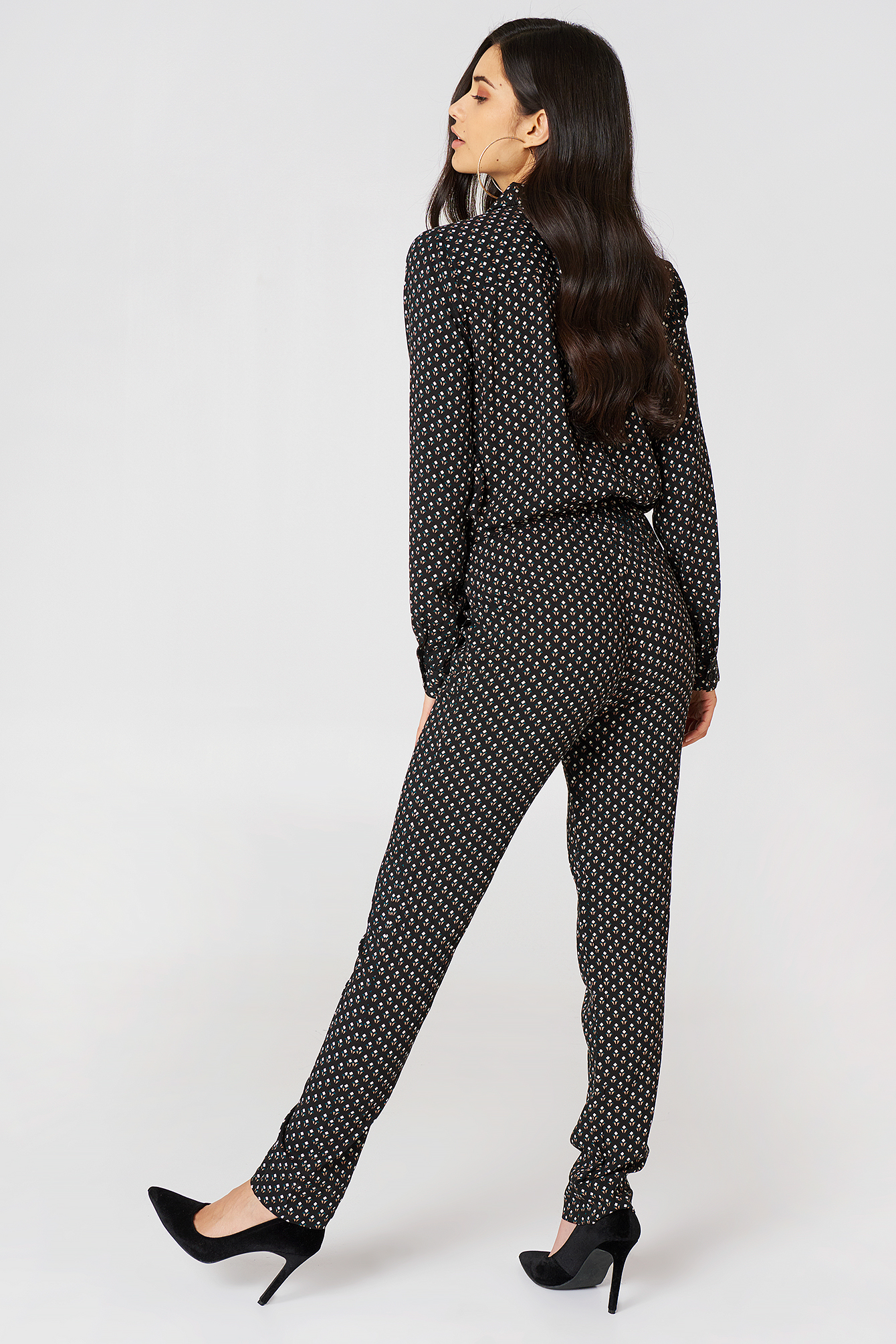 Black With Print Natrione Jumpsuit