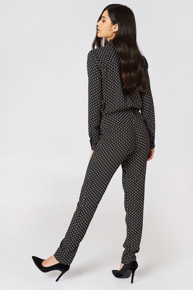 Natrione Jumpsuit Black With Print