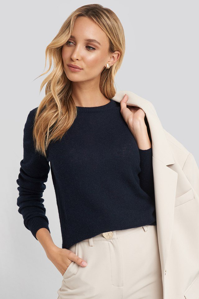 Pure Cashmere O-Neck Pullover Navy