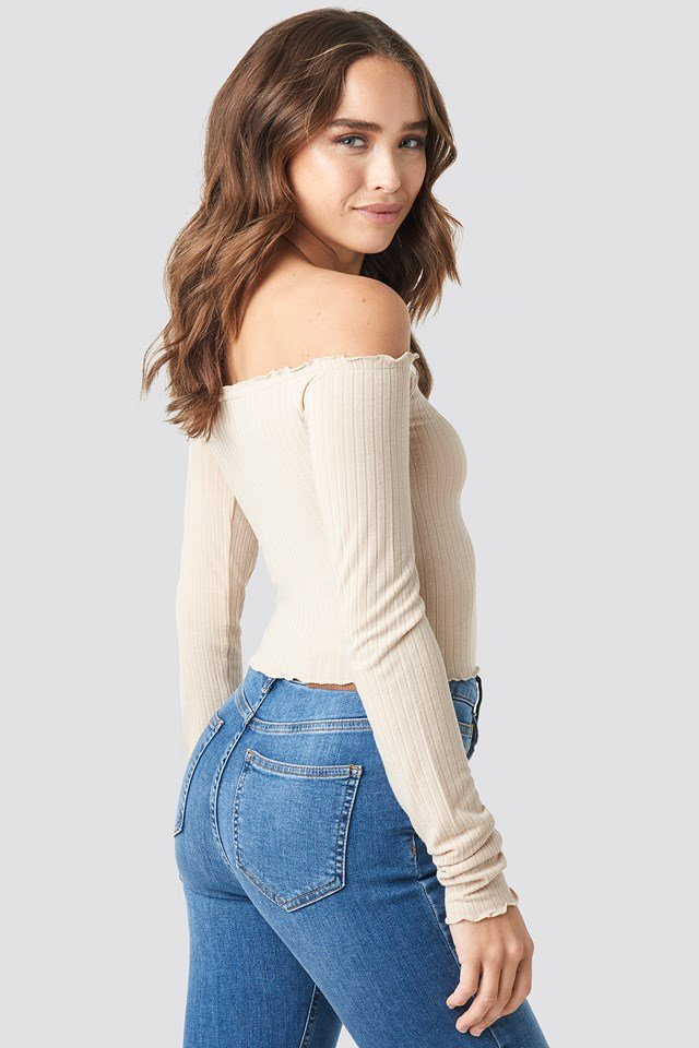 Denise Bobe Button Detail Ribbed Top Beige