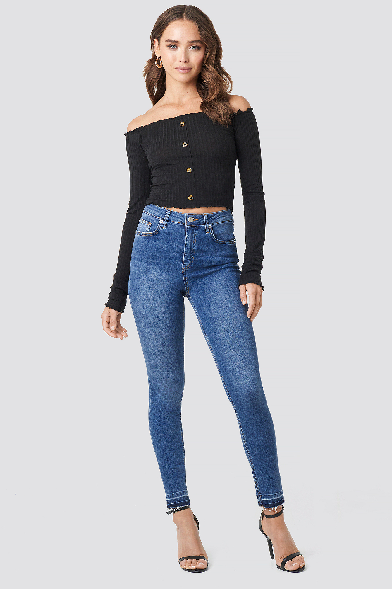 Denise Bobe Button Detail Ribbed Top NA-KD.COM