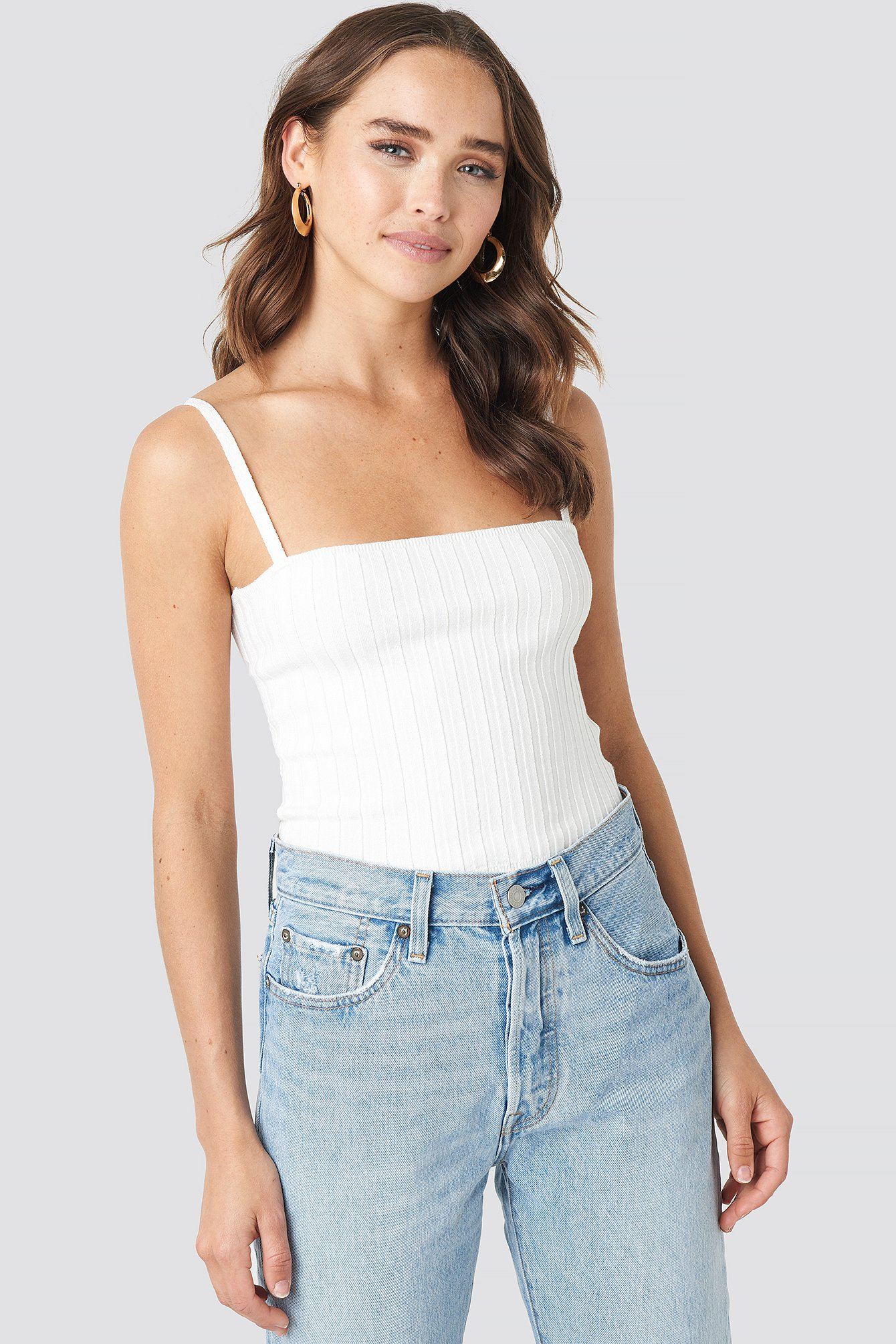 statement by na-kd influencers -  Erica Kvam Ribbed Top - White