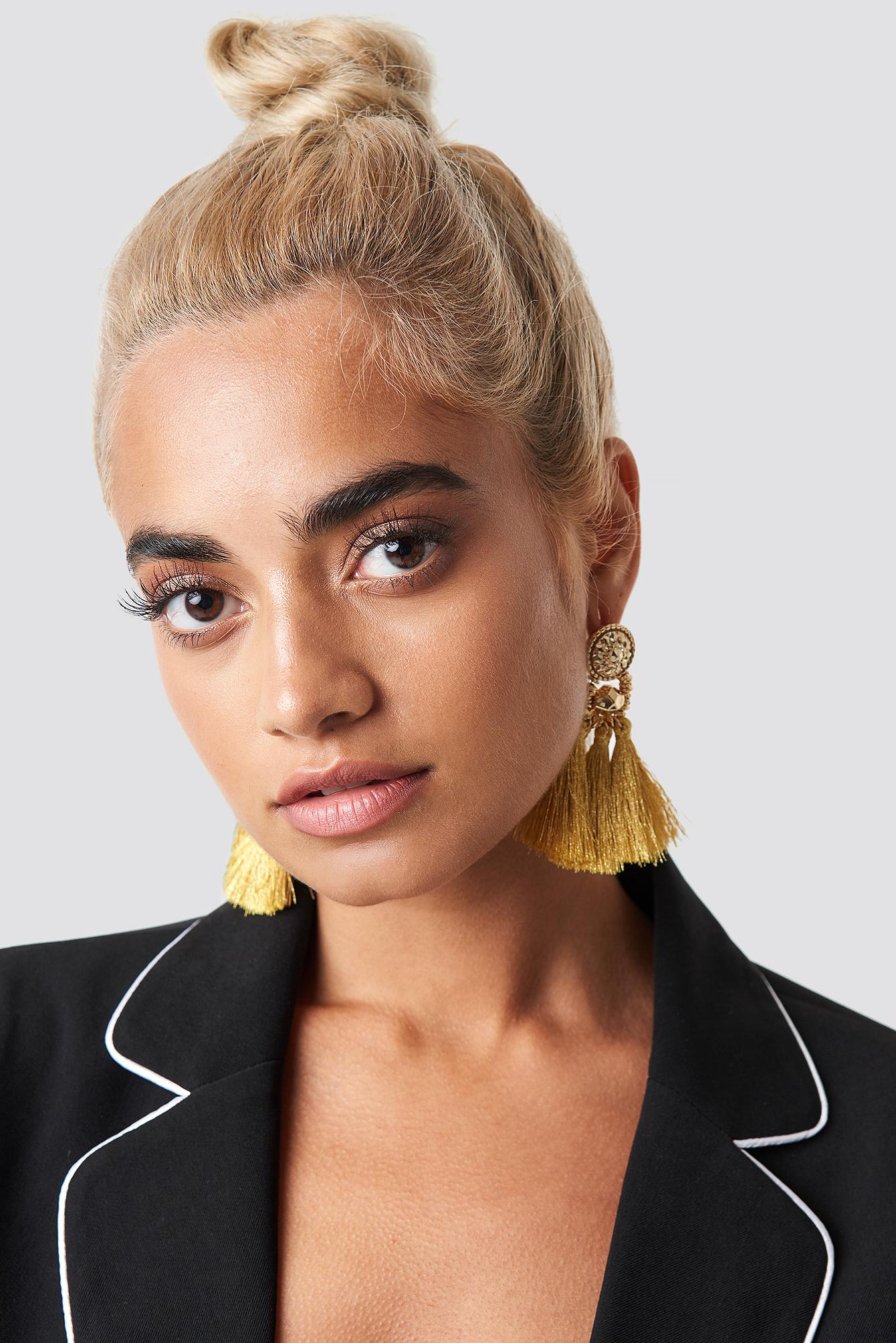 statement by na-kd influencers -  Hanadi Diab Tassel Earrings - Gold