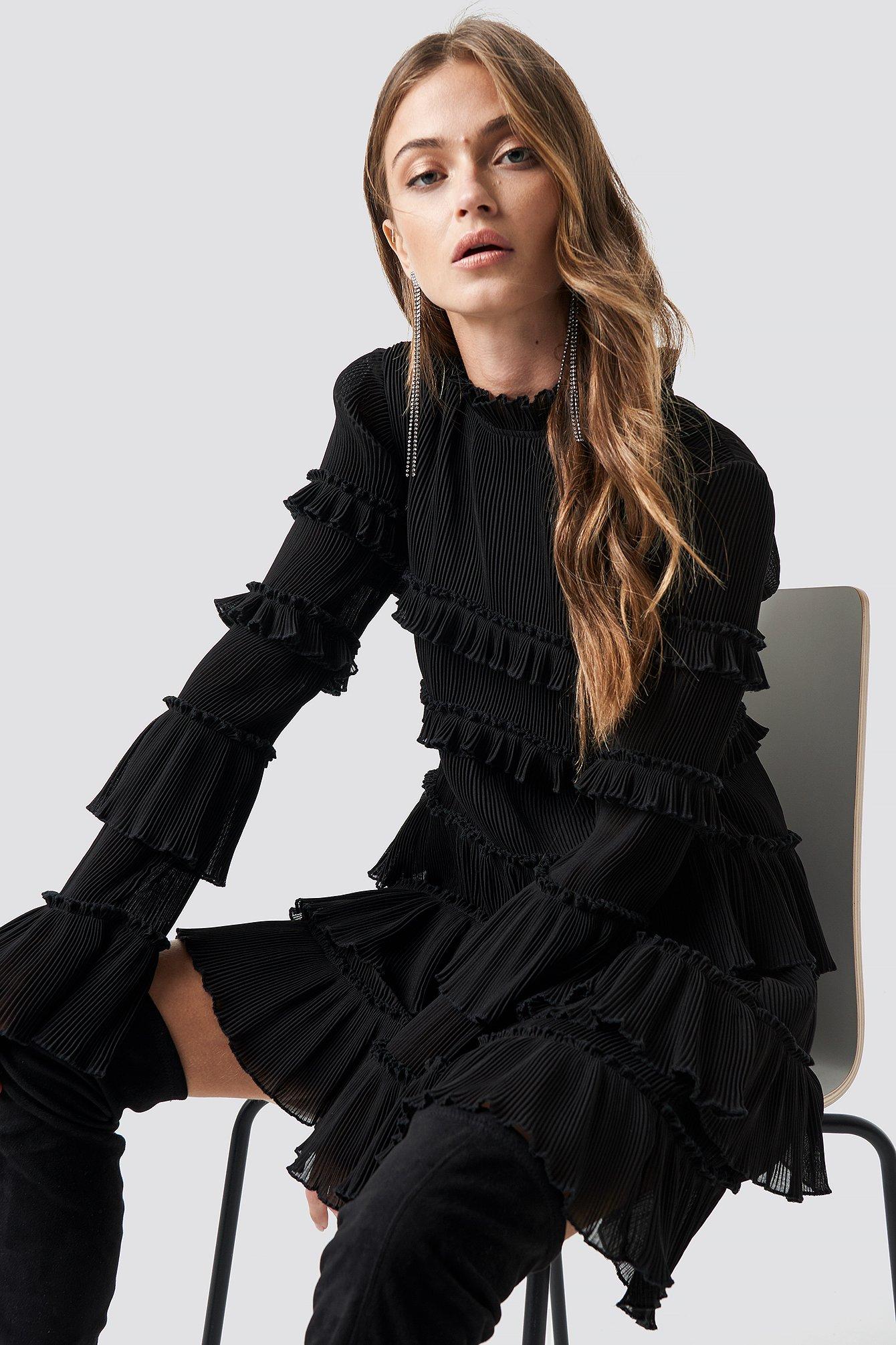 High Neck Layered Mini Dress Noir by Na Kd Party