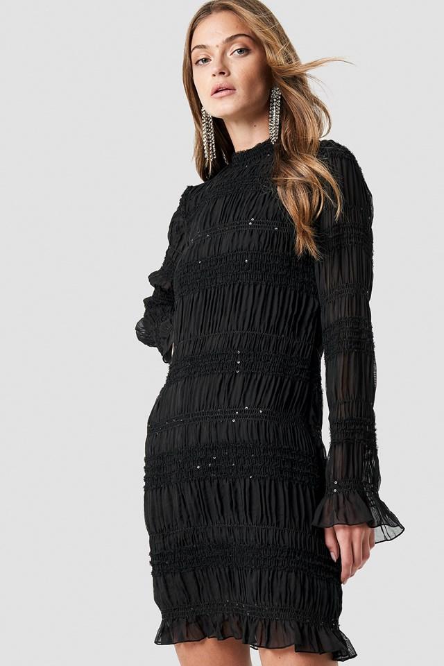 High Neck Sequins Detail Dress NA-KD.COM