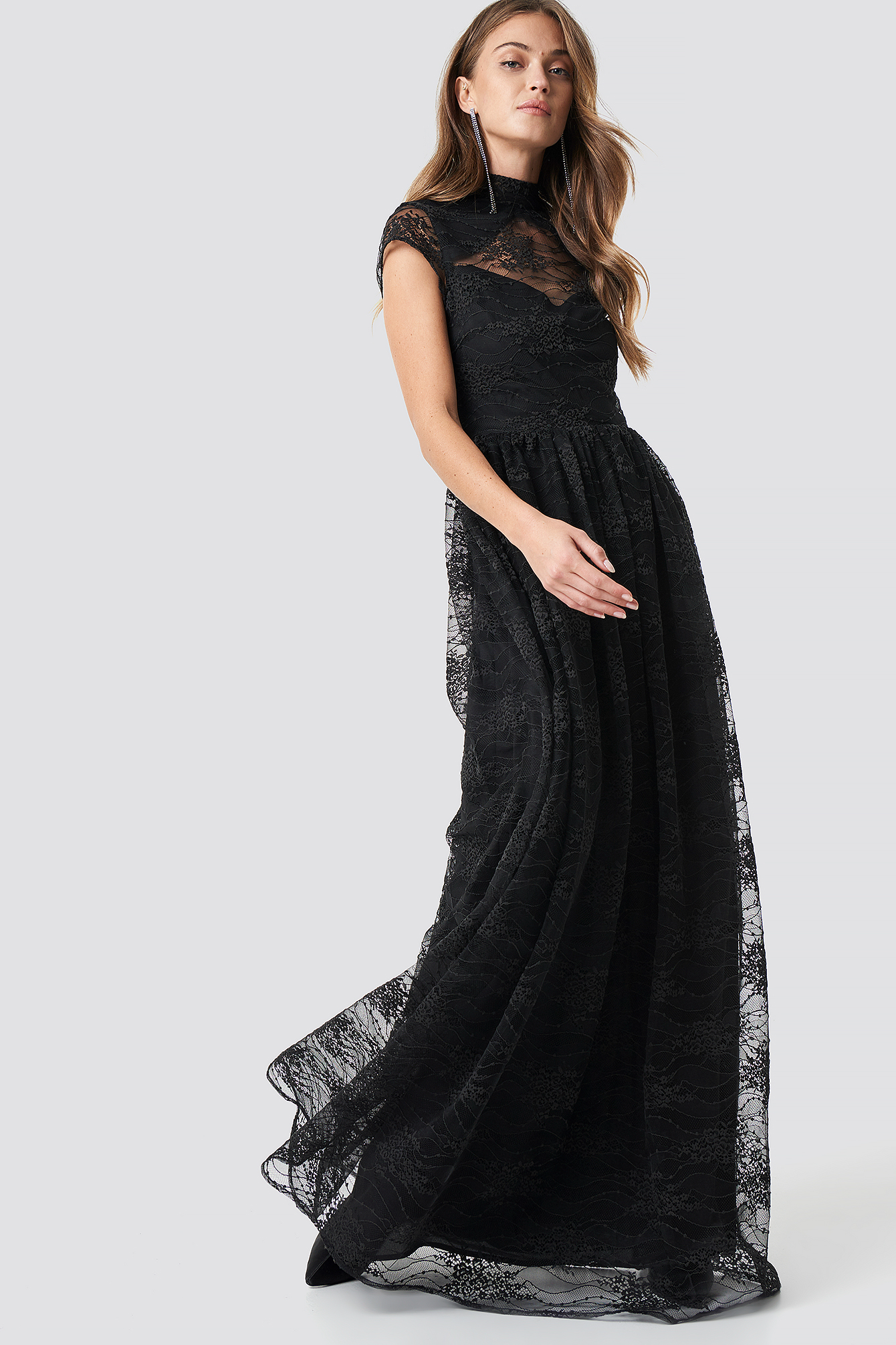 Lace High Neck Maxi Dress NA-KD.COM