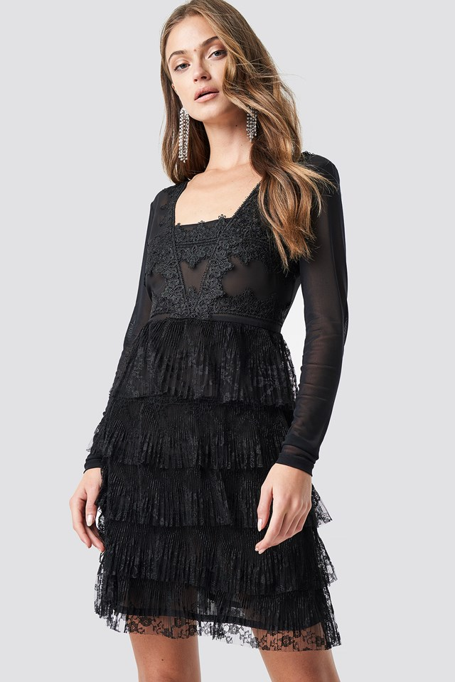 Mesh Sleeve Lace Mini Dress Black