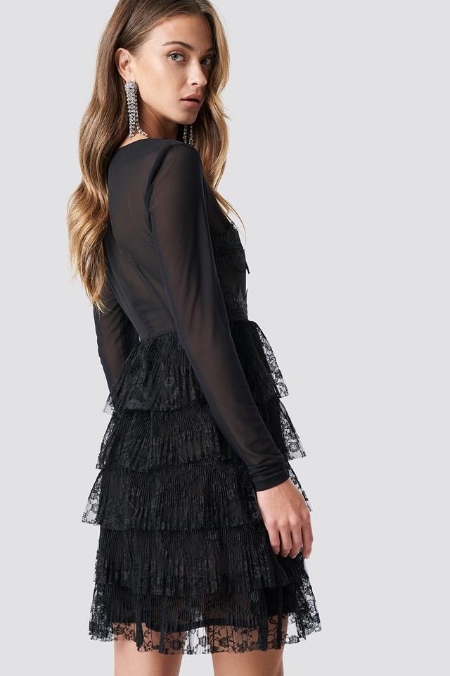 Mesh Sleeve Lace Mini Dress Black