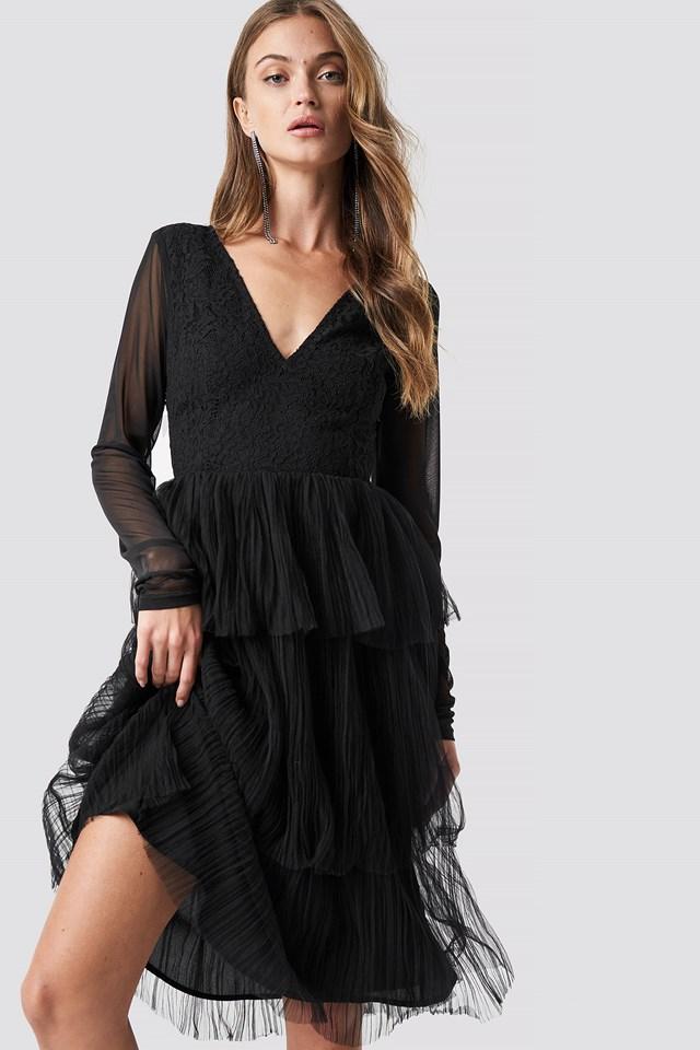 Mesh Sleeve Layered Midi Dress NA-KD Party