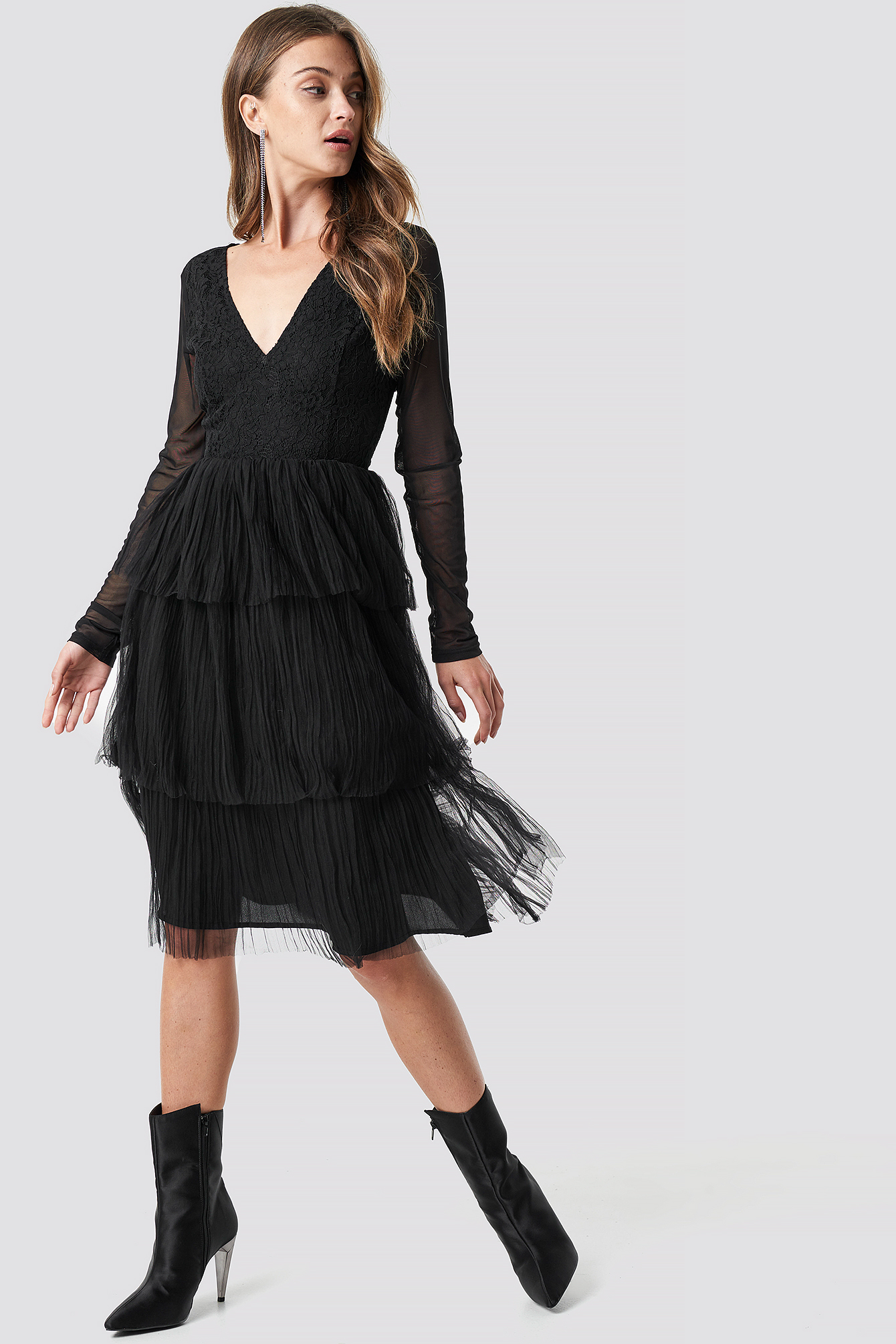 Mesh Sleeve Layered Midi Dress NA-KD.COM
