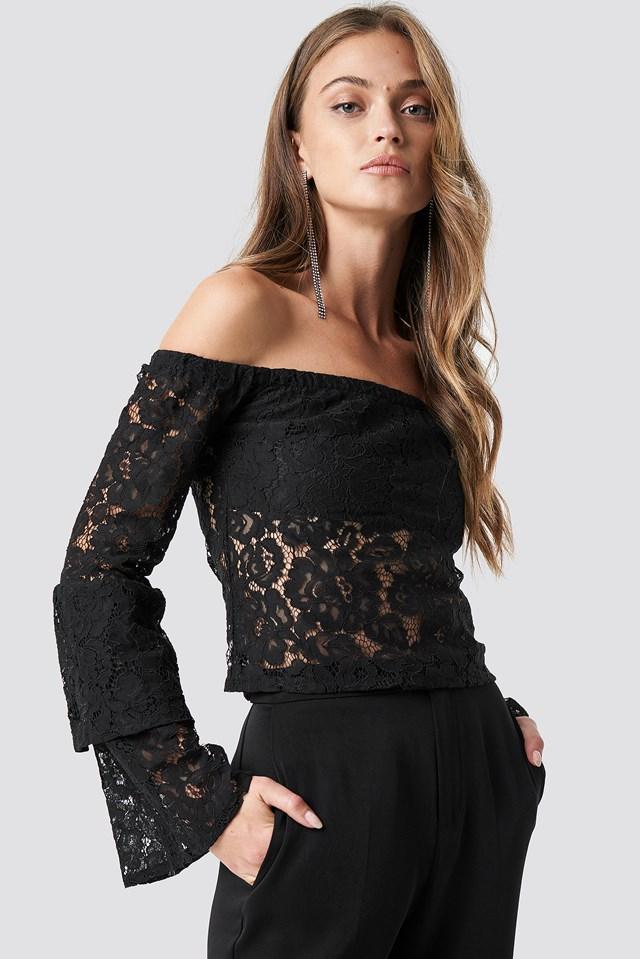 Off Shoulder Flounce Sleeve Lace Top Black