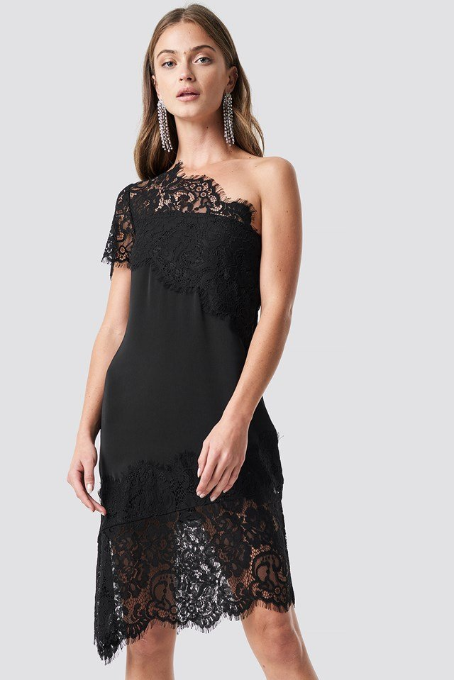 One Shoulder Lace Asymmetric Dress Black