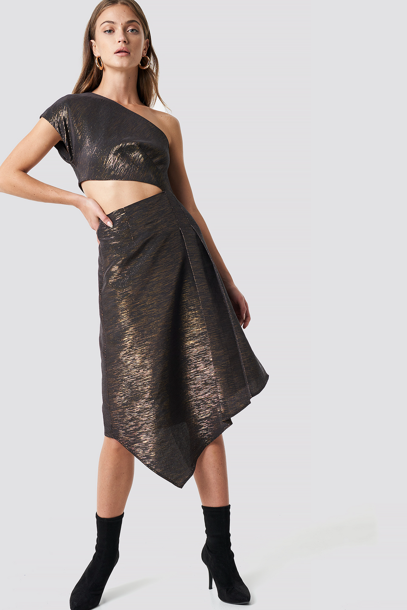 Shimmery One Shoulder Midi Dress NA-KD.COM