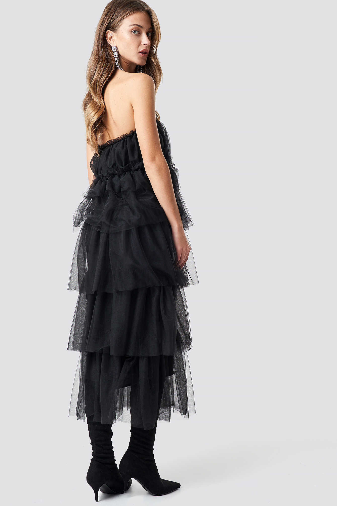 Tulle Layered Midi Dress NA-KD.COM