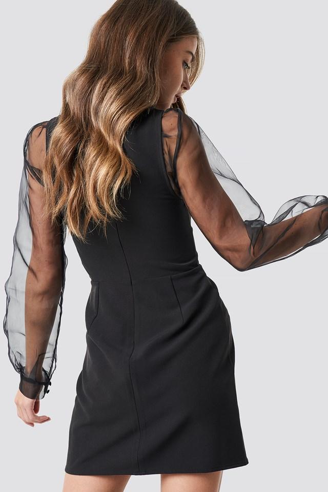 V-Neck Bodycon Mini Dress Black