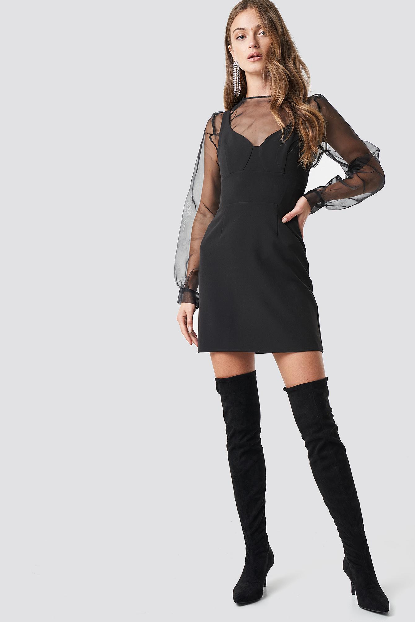 V-Neck Bodycon Mini Dress NA-KD.COM