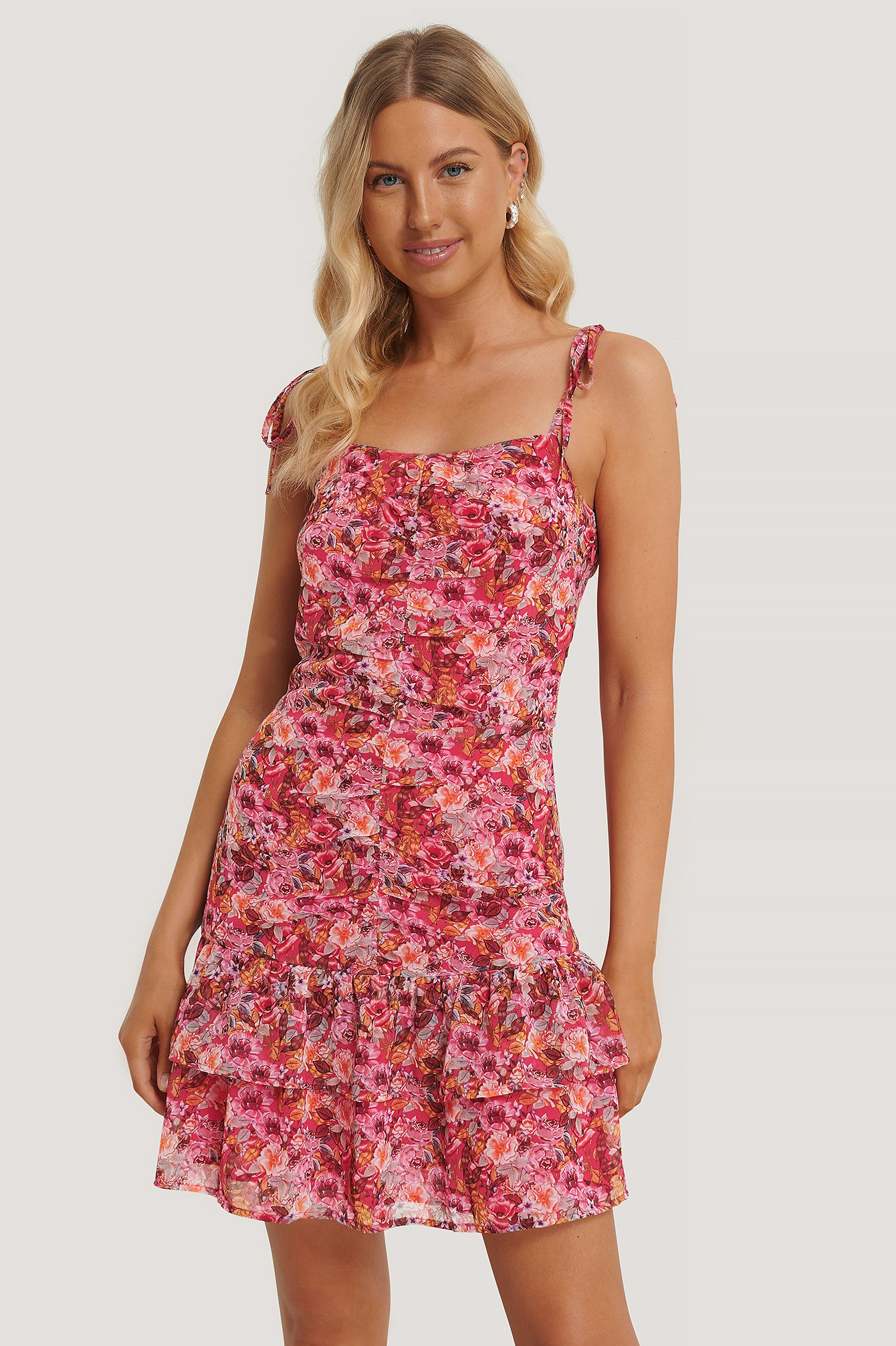 Flower Print Front Gatherings Dress