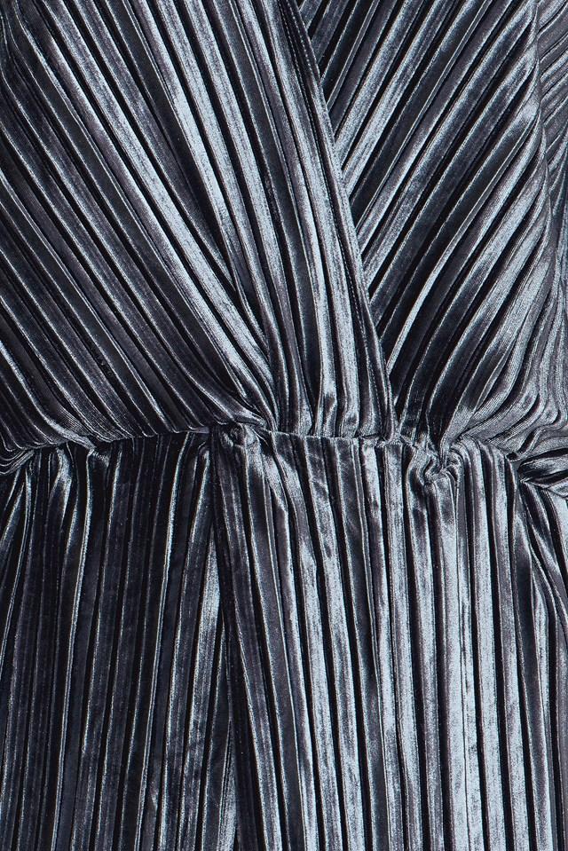 The Kiss Pleated Mini Dress Dark Grey