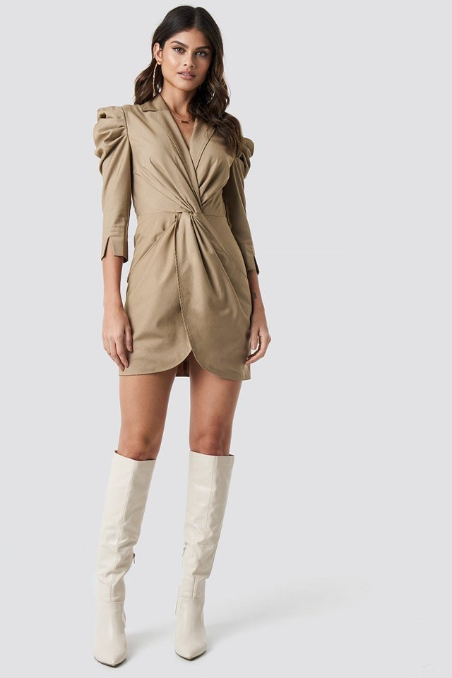 Front Knot Shirt Dress Beige Outfit