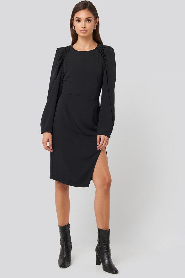 Puff Sleeve Side Split Midi Dress Black Outfit