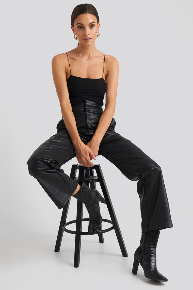 Thin Strap Shirred Body Black Outfit