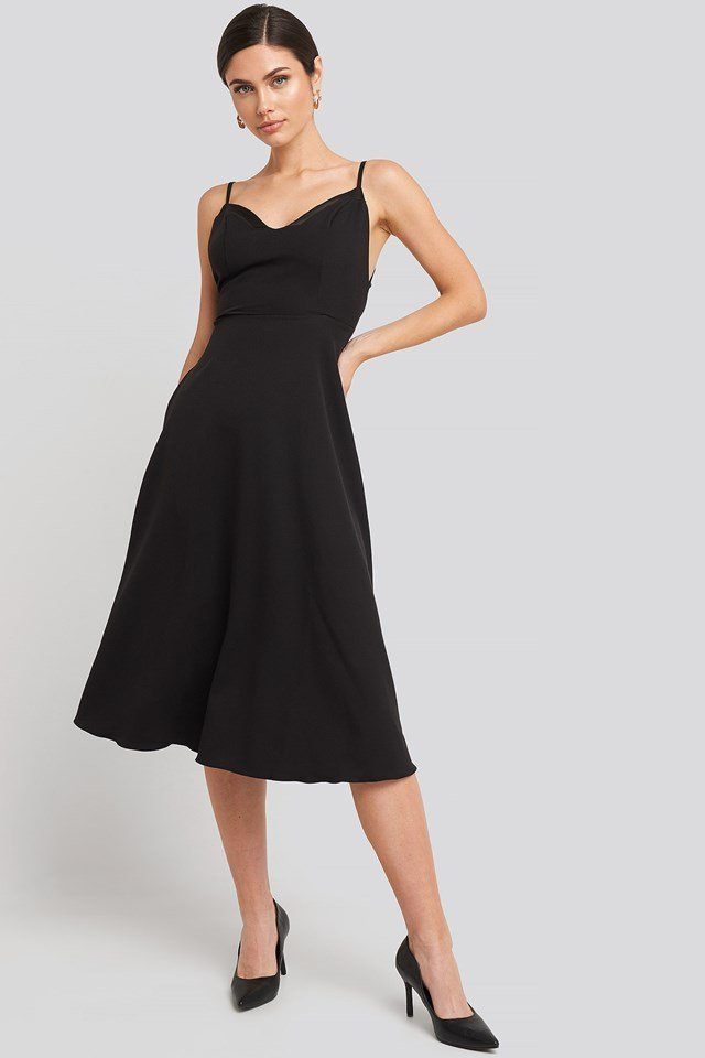Thin Strap Satin Detailed Midi Dress Black Outfit